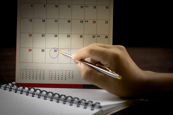 Календарь, где число обведено ручкой